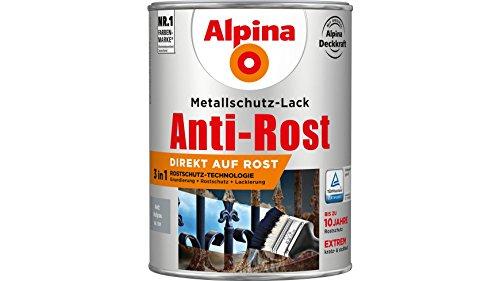 Alpina 2,5 L Metallschutz-Lack, 3in1 Direkt auf Rost, RAL 7001 Hellgrau Matt