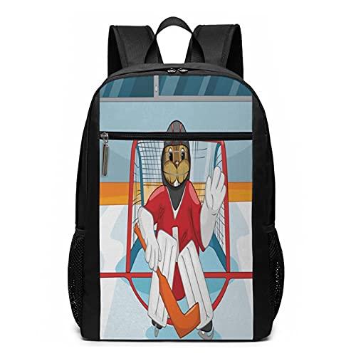 Schulrucksack Eishockey 416, Schultaschen Teenager Rucksack Schultasche Schulrucksäcke Backpack für Damen Herren Junge Mädchen 15,6 Zoll Notebook