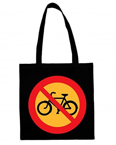 Jutebeutel KEIN Biken- Fahrrad- Radfahren- STRAßENSCHILD- Roadsign- ANMELDEN- Cartoon- FAHRRÄDER- Transport- STRAßE- WEGWEISER Baumwolltasche Einkaufstasche