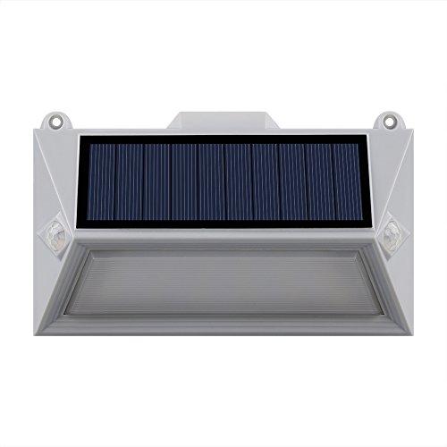 Lumi Jardin POLY W11 - Faro a energia solare, 18 LED, per esterni, impermeabile, con doppio rilevatore di movimento, in plastica, 1 W, grigio, 16 x 9,5 x 3,6 cm