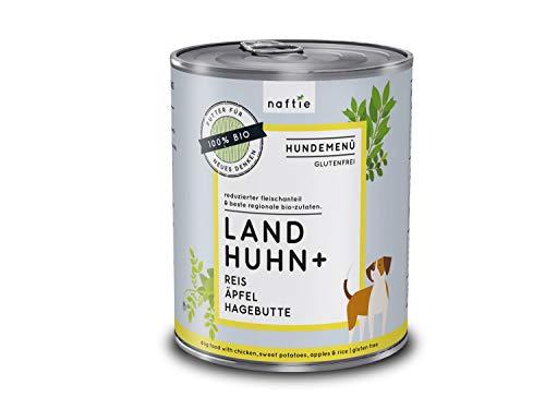 naftie Bio Hundefutter Land Huhn+   Premium Nassfutter Menü mit Huhn, Reis, Äpfel und Hagebutten   Glutenfrei   purinarm   Diät-Futter feucht   800 g Dose