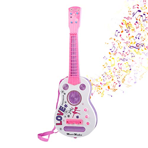 M SANMERSEN Kids Electric Guitar 4 Strings Kids Guitar Musical Guitar Toy with Flash Light Music Educational Toy Gift for Boys Girls Children