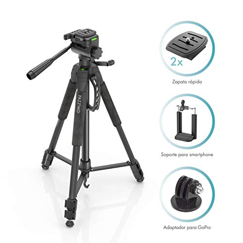 PAZZiMO trípode cámara réflex Negro para Canon, con rótula panorámica y Otros Accesorios como un Soporte GoPro y Muy Estable, con Funda de Transporte para Viajar.