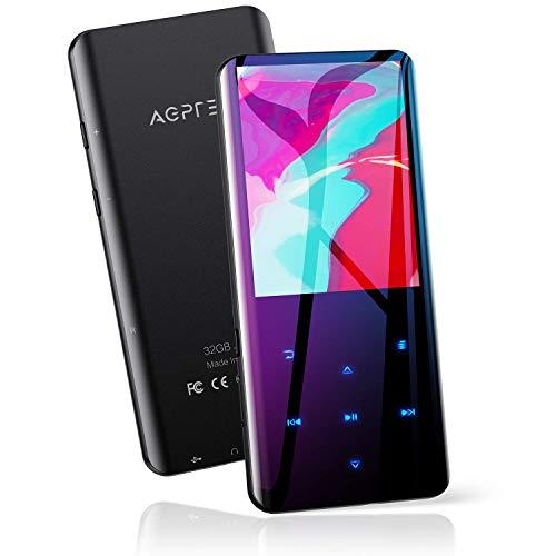 """AGPTEK 32GB Reproductor MP3 Bluetooth 5.0, Pantalla a Color de 2.4"""" con Radio FM, Grabación, Botones Táctiles, Soporte hasta 128GB, Negro"""