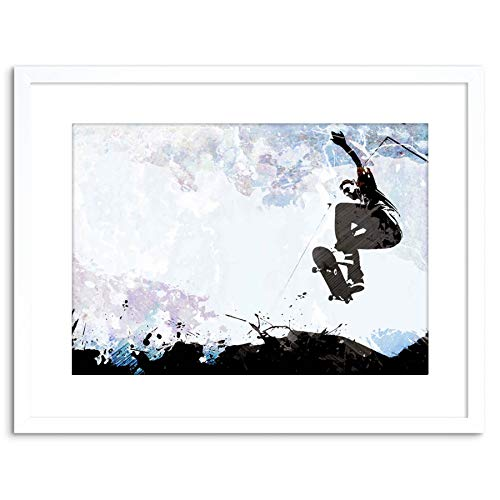 Wee Blue Coo SPORT GRAPHIC SKATEBOARDING GRUNGE VECTOR SILHOUETTE FRAMED PRINT F97X6325