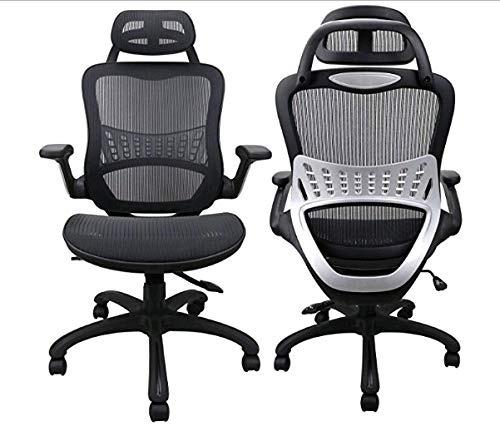 Ergousit High Back Ergonomic Office Chair Mesh Desk Chairs Adjustable Office Chair with Breathable Backrest, Headrest, Armrest and Seat Height for Conference Room (Black) (4647)