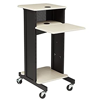 Oklahoma Sound PRC200 Steel Premium Presentation Cart 18  Width x 40-1/2  Height x 30  Depth Ivory Woodgrain/Black