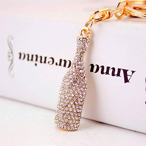 HZOLJVN Moda Coche Llavero Bolso Encantos Diamantes De Imitación De Cristal Llavero De Metal Titular De La Llave Botella De Vino De Cristal Llavero Anillo