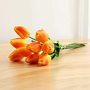 10Pcs Beauty Real Touch Artificial Flowers Latex Tulips Flower Bouquet Fake Bridal Decorate For Wedding,Orange1