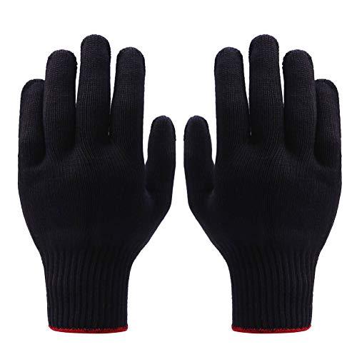 kuou 2 Paar professionelle hitzebeständige Handschuhe, Verwendung für Haarstyling, Lockenstab und Lockenstab und für die meisten Handgrößen (schwarz)