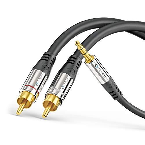 sonero® Premium Audio Adapterkabel, 1,50m, 3.5mm Klinke auf 2x Cinch Stecker, vergoldete Kontakte, schwarz
