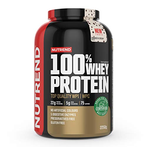 Nutrend 100% Whey Protein – Whey Protein Concentrate – Protein Powder for Muscle – Supplement Bodybuilding – Amino Acid – BCAA - Package of 1 x (Cookies Cream, 2250g)