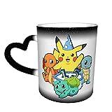 Pokemon Pikachu - Taza de porcelana con diseño de cielo estrellado que cambia de color, cerámica, uso en el hogar, oficina,...