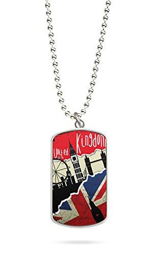 Kette Dog Tag Anhänger England UK Fahne