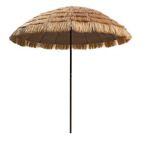 WRJ@ 2,4 m tropischer Hawaii Strand Stroh Sonnenschirm, wasserdichter Regenschirm im Freien, geeignet für Garten Pool Terrasse Sonnenschirm