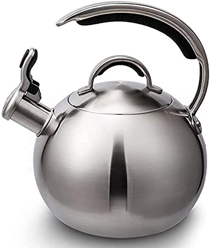 FHISD Stainless Steel Tea Kettle Stainless Steel Kettle for Stove Top,Whistling Teapot with C-Shaped Heat-Resistant Handle and Thumb Button Spout / 3 Liters