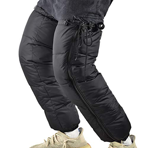Tentock ダウン レッグウォーマー 羽毛 ユニセックス バイク 防寒 軽量 暖かい メンズ レディース 冷え性 ブラック 足元の防 寒対策 冷え取りに