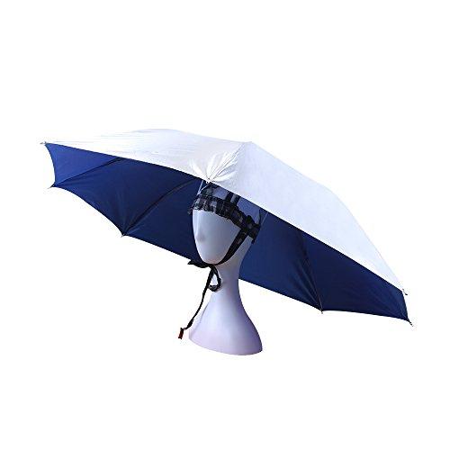 JANGANNSA UV Protection Umbrella Hat Double Canopy Ventilative for Fishing Gardening Headwear Sun Rain Cap (Blue)