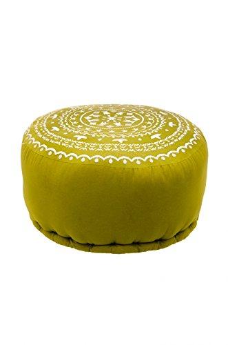 Orientalischer runder Pouf aus Baumwolle inklusive Füllung | Marokkanisches Sitzkissen Sitzpouf Kissen Jabran Grün ø 52cm Rund | Marokkanischer Hocker Sitzhocker Fusshocker Bestickt