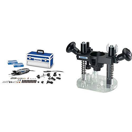 Dremel 4300-9/64 Rotary Tool Kit with Flex Shaft- 9 Attachments & 64 Accessories- Engraver, Router, Sander, and Polisher & 335-01 Rotary Tool Plunge Router Attachment – Perfect for Wood