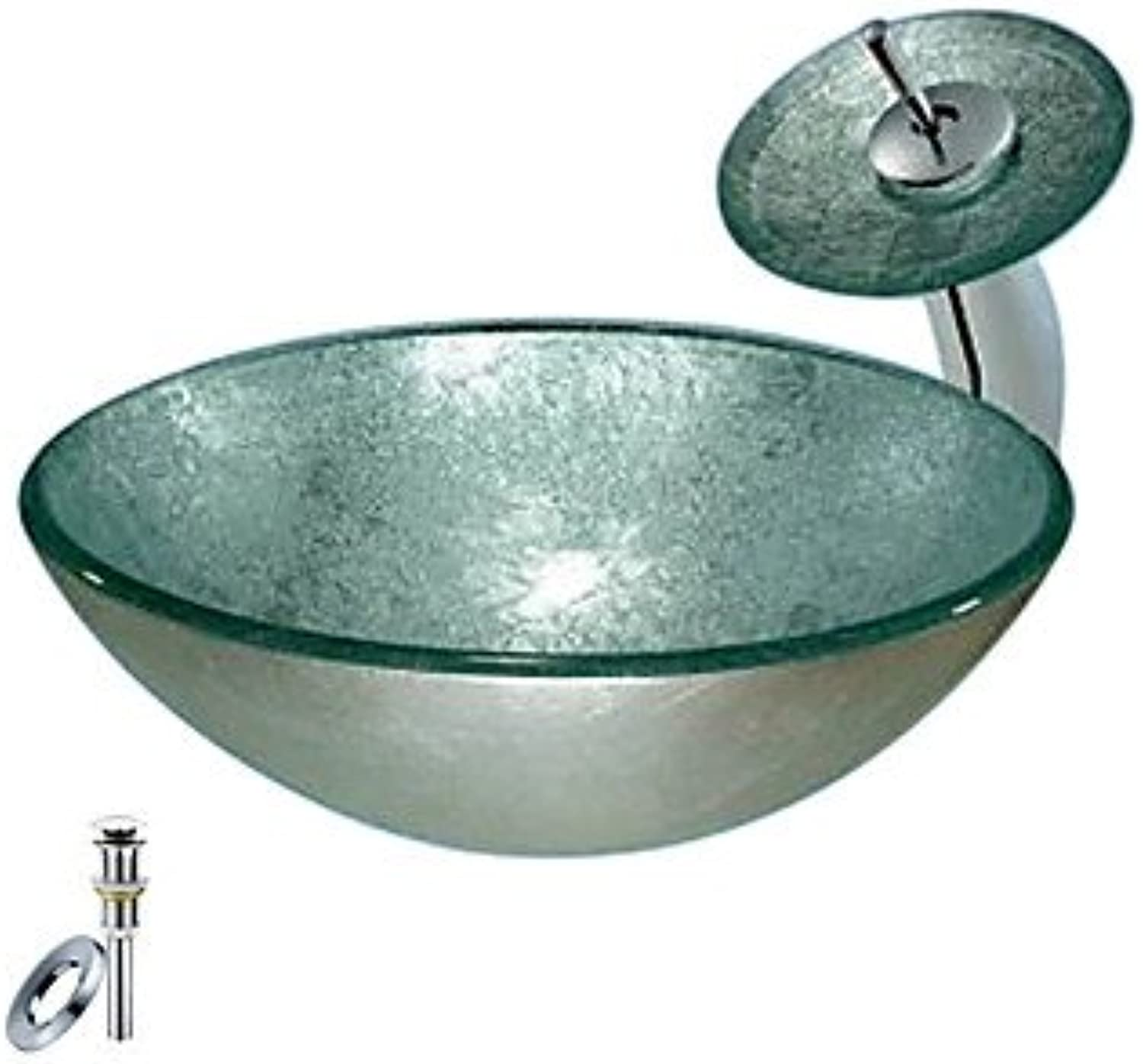 Bronze Round Tempered glass Vessel Sink With Waterfall Faucet, Mounting Ring and Water Drain(0888-C-BLY-6552-WF)