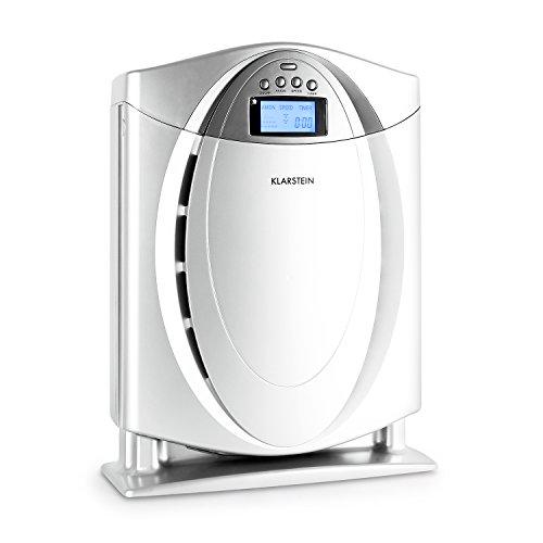 KLARSTEIN - Purificador de aire 4 en 1 con filtro HEPAL, ionizador conmutable, alérgeno, olores, humo, eliminador de polvo, funcionamiento silencioso, visualización LCD, Plateado
