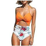 K-youth bikini mujer 2019 Playa Beachwear con Cuello Halter Elegante Traje de BañO Conjunto Bordado de Flores