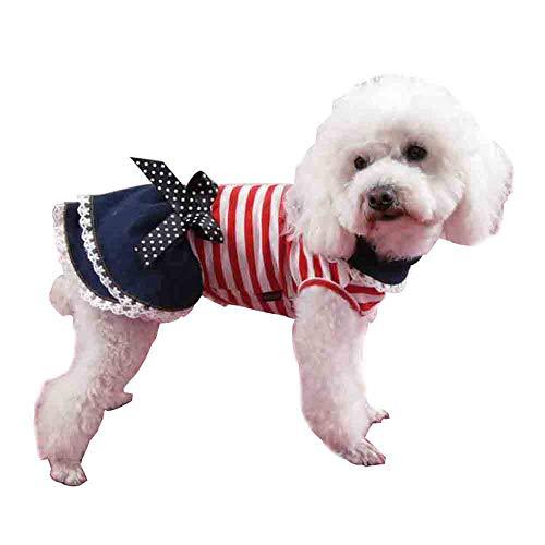 Huisdier Jurk, Hond Prinses Jurk Zomer Kat Tutu Rok Meisje Kleding met Strik Knoop Hond Rok voor Katten Puppy Kleine Honden, M: Back Length: 30cm
