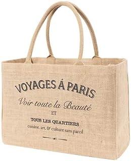 KAF Home Jute Market Tote Handles Reusable Grocery Bag, Voyages