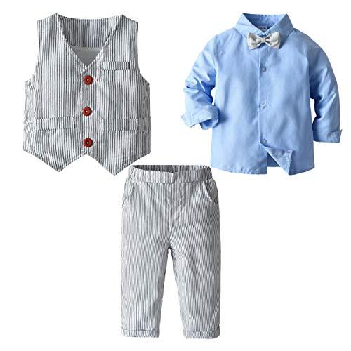 2-Teiliges Kleinkind Jungen Babyanzug Gentleman Kinder Langarm Hemd + Hose mit Träger Anzug Kleidung Set (2-3 Jahre, Color#C)