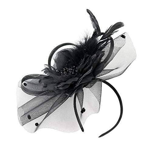 PRETYZOOM Fascinators Chapeaux Cheveux Cerceau Fleur Maille Rubans Plumes Net Cerceau pour Le Thé Cocktail de Mariage (Noir)