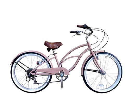 一勝堂(Isshoudou) ビーチクルーザー 【ビーチクルーザー】 24インチ ワイド2.125 ホワイトリボンタイヤ レトロ鋲付きスプリングサドル 大型ハンドル カラーバリエーション シマノTourney7段グリップシフト付きレトロ自転車 B1 ピンク