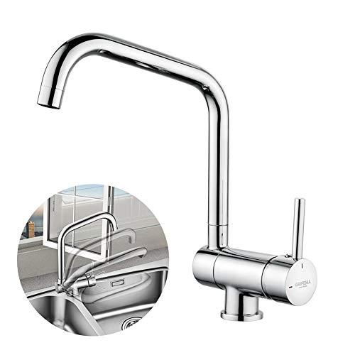 GRIFEMA GRIFERÍA DE COCINA-G4004 | Küchenarmatur - Wasserhahn Küche zur Vorfenstermontage, Hoher Auslauf(290mm) | Einhand-Spültischbatterie, vor fenster, 360° Schwenkbar, Chrom