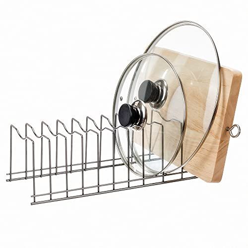 SANNO Pot Lid Organizer Pot Lid Rack Holder Suitable for Bakeware Dish Plate, Cutting Boards, Pots & Pans, Serving Trays, Reusable Containers in Cabinet Pantry