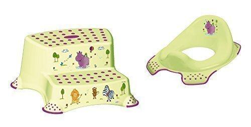 2er Set Z Hippo grün WC Aufsatz + Hocker zweistufig Toilettentrainer + Waschhandschuh von KiNDERWELT