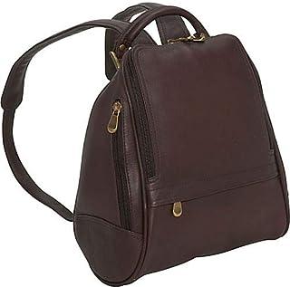 Le Donne Leather U Zip Mid Size Backpack/Purse (Café)