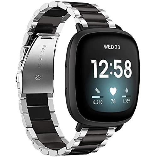 Cinturino di ricambio compatibile con Fitbit Versa 3/Fitbit Sense in metallo, in acciaio inox,