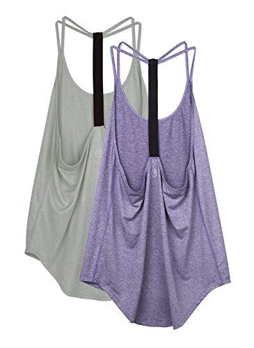 icyzone Damen Workout Yoga Tank ärmellos Shirt Strappy Sport Fitness Tank Tops, 2er Pack (XL, Grey/Violet)