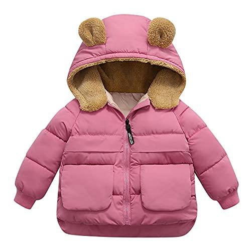 Chaqueta con capucha para bebé y niña, abrigos cálidos, para exteriores, con capucha, resistente al viento, con cremallera, para otoño y invierno (1 a 6 años), rosa, 3-4 años