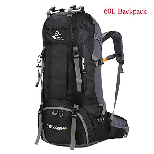 HENDTOR 60L Wasserdichtes Klettern Wandern Regen Abdeckung Tasche 50L Camping Bergsteigen Rucksack Sport Outdoor Black 60L