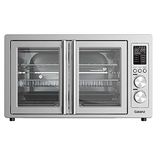 Galanz GFSK215S2EAQ18 Digital French Door Toaster Oven with TotalFry 360 (Enhanced Air Fry Technology), 1800W/120V, 1.5 Cu.Ft, 8 Cooking Functions, Stainless Steel, 42L