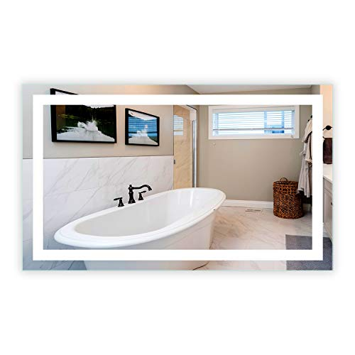 Mirrors & Marble LED Front-Lighted Bathroom Vanity Mirror: 60' Wide x 36' Tall - Rectangular -...