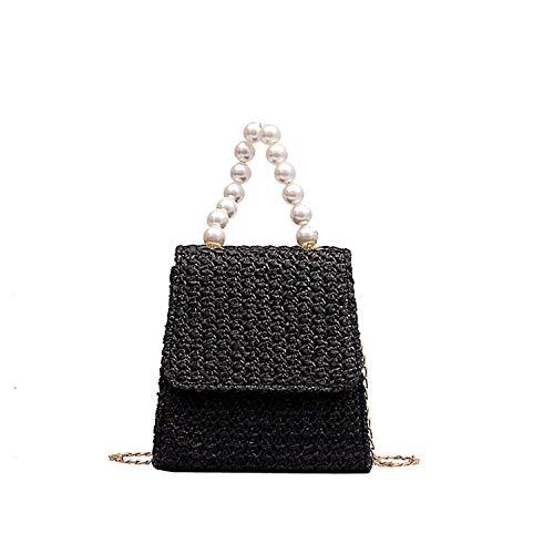 Feing Straw Bag Borsa da donna estiva in rattan, a tracolla, quadrata, realizzata a mano