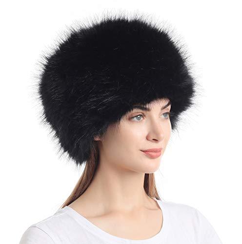 soul young Sombrero de Invierno del Estilo Ruso de la Piel Falsa de Las Mujeres Sombreros de Las Tapas de esquí de la Moda(Negro)
