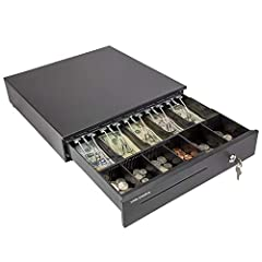 """Dimensions: 16""""x16""""x4"""", Color: black, voltage: 24VDC, micro switch, heavy duty metal frame, durable for commercial use. The money box has a built in cash tray that comes with a removable coin compartment (not entire tray) to maximize the partitions t..."""