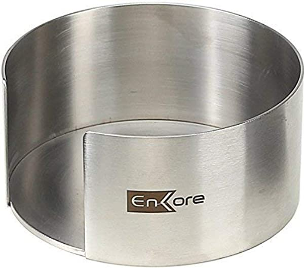 ENKORE Coaster Holder Heavy Duty Stainless Steel Large 4 5 Inch Wide 2 5 Depth For 4 To 8 Piece Of Round Coasters Made Of Ceramic Cork Stone Agate Geode Marble Glass Slate Silicone Leather
