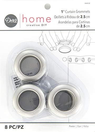 Dritz Home 44458 Round Curtain Grommets, 1-Inch, Pewter (8-Piece)