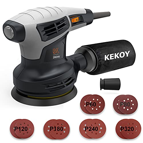 KEKOY Random Orbit Sander with Vacuum Hose, 13000RPM 6 Variable Speed Electric Sander with 12Pcs Sandpapers, High Performance Dust Collection System for Woodworking, 125MM, Dust Collection Bag
