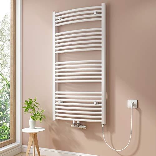 Badheizkörper, 1200 x 600 mm handtuchheizkörper,Mittelanschluss Warmwasser oder Elektrisch mit Heizstab,weiß Gebogen Handtuchtrockner inklusive Kabel & Stecker (600 Watt)