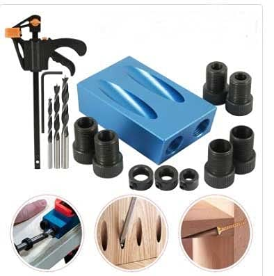 asx key fob hardware Woodworking Oblique Hole Locator Drill Bits Pocket Hole Jig Kit 15 Degree Angle Drill Guide Set Hole DIY Carpentry Tools front door hardware (Color : 15 Pcs)